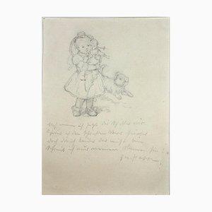 Jakob Happ, Schwälmerchen mit Puppe & Hund, Bleistift