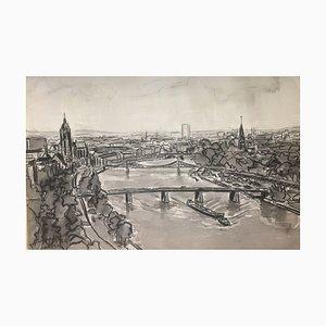 Main Cathedral Iron Bridge, 1960, Carbon ink