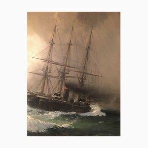 Neumann Emil, Kassel, Dreimaster Segelschiff trifft Dampfschiff