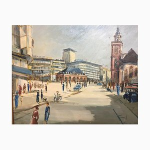 Petri Knuth, Reschitza, Hanau Hauptwache Frankfurt, 1957, Painting