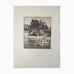 Paulsen Ingwer, Italian Lake with Houses and Church, Etching