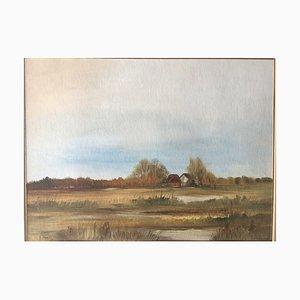 Josi Neuberger, casa de campo con tejado de paja, 1982, técnica mixta