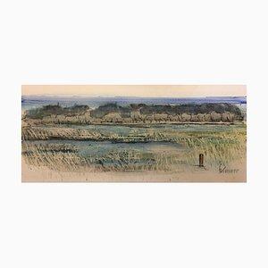 Sylvia Koller, 1898-1963, Lake Landscape, Watercolor
