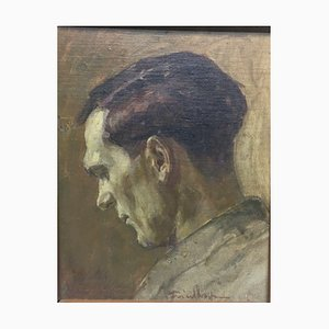 Josef Friedhofen, Profile Of Man, 1930, Oil on Canvas