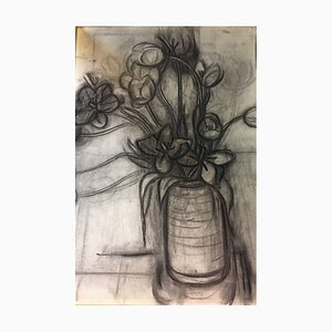 Zach Thomas, Flower Still Life, 1922, Charcoal