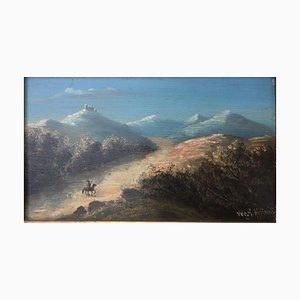 G. Hoffmann, Burgige Berge, Öl auf Holz