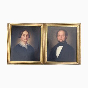 Josef Hartmann, 1811-1864, Peter Berghausen und Frau, Öl auf Leinwand