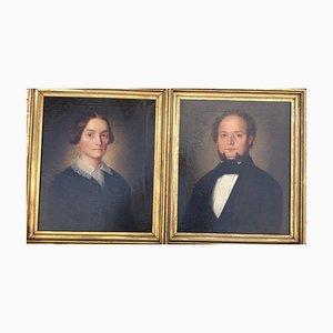 Josef Hartmann, 1811-1864, Peter Berghausen y esposa, óleo sobre lienzo