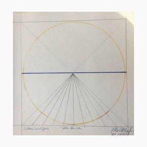 Peter Kalkhof, Blue Horizon Color and Space, 1973, Crayon
