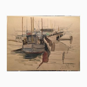 Reinhold Liebe, porto baltico, 1962, acquerello
