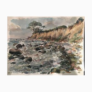 Reinhold Liebe, Cliff Bridge, 1980, Watercolor