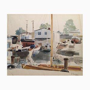Reinhold Liebe, Marina Docks, 1959, Acquerello