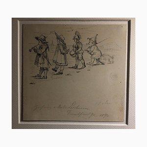 Albert Hendschel, Children and Musician, 1894, Ink