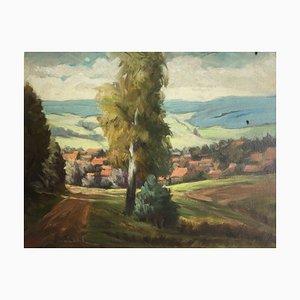 Adolf Faust, 1882-1945, Pozzo del villaggio, olio su cartone