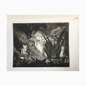 Oskar Graf, Soldiers Under Attack from French Artillery, Etching