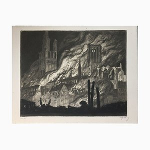 Oskar Graf, Two People Before A Burning Cathedral, Etching