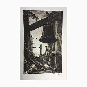 Oskar Graf, vista en una iglesia bajo una campana, aguafuerte