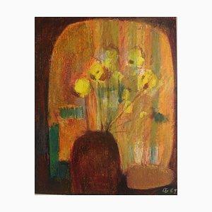 Bodegón de flores, Crayón de cera
