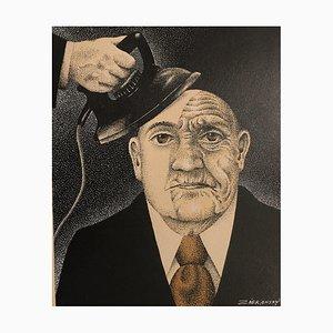 Lithographie de Vlastimil Zabransky, Iron The Wrinkles Away, 1936