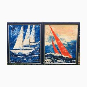 Barche a vela, olio su tela, set di 2