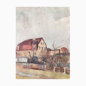 Heymo Bach, Case e giardino, 1950, acquerello