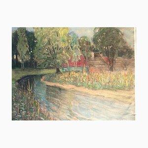Oskar Matysek, Sommerwiesen am Fluss, 1900er Jahre