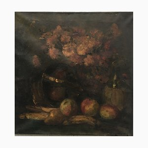 Antonia Vogelzang, Bodegón Manzanas Plátano Pera, Óleo sobre lienzo