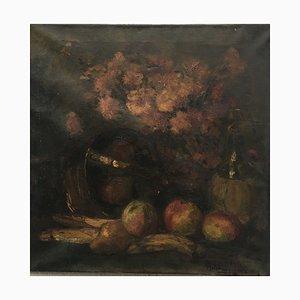 Antonia Vogelzang, Nature morte pommes banane poire, huile sur toile