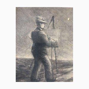 Anton Iller, 1868-1939, Cupid with Arrow, Charcoal
