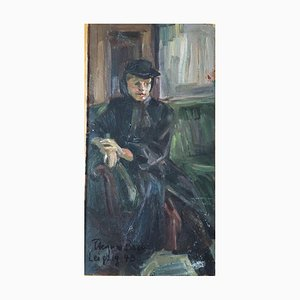 Heymo Bach, Dame mit Hut, 1949, Öl auf Leinwand