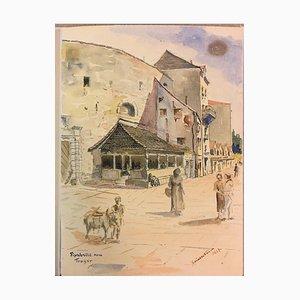 Fish Market, Watercolor, 1936