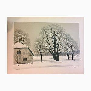 Reinhold Ljunggren, 1920-2006, Winter Landscape, Lithograph