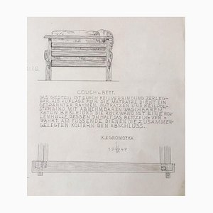 K. E. Gromotka, Couch and Bed, 1947, Pencil
