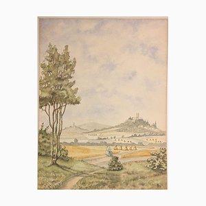 Krofdorf Gleiberg, 1956, Watercolor