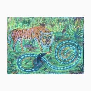Eike Meyer Daniel Muenster, Tiger Green Snake, Wax Crayon