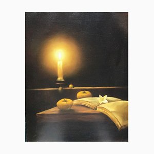 Magdzinski Krzysztof, Still Life with Candle, Oil on Canvas