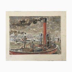 Emil Hans Krumm, Hamburg Harbour, Gouache
