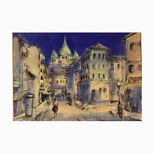 Scena di strada di Parigi, acquerello, anni '60