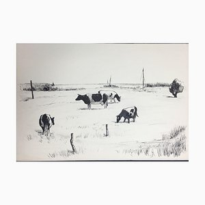 Hellmuth Mueller-Leutert, Vier Grazing Kühe, Tusche auf Papier