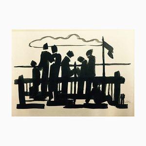 Hellmuth Mueller-Leutert, People on the Fence, Tusche auf Papier