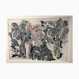 Irmgard Haccius, Four Trees, 1957, Mischtechnik