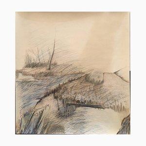 Klug-Berninger Irmtraud, Obernburg River Landscape, 1983, Colored Pencil