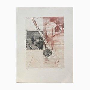 Karel Demel, 1973, Flötenspieler, Radierung