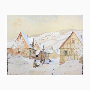 Walter Kappel Meier Schlittenfahrt mit Kindern, Aquarell, 1942