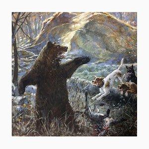 Adolf Wagner, Bear Hunt, 1861, Gouache