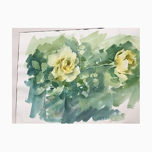 Zach Thomas, Yellow Roses, 1922, Watercolor