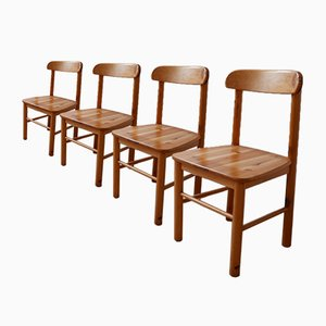 Mid-Century Pine Dining Chairs, Set of 4