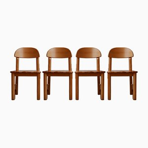 Mid-Century Pine Dining Chairs, 1990s, Set of 4