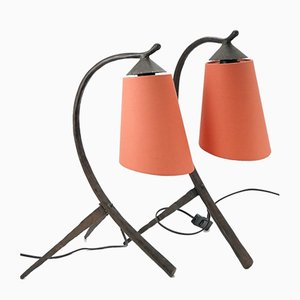 Mid-Century Hammered Wrought Iron Table Lamps with Coral Lampshade, 1970s, Set of 2