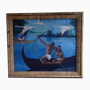 Artmann, Art Deco Pavatex, Südsee Kanu und Flamingo, Ölgemälde mit Bambusrahmen